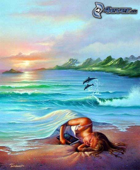 dormir, mar, cubierta, delfines, puesta de sol en el mar
