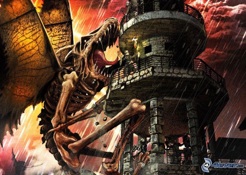 dragón, torre, tormenta