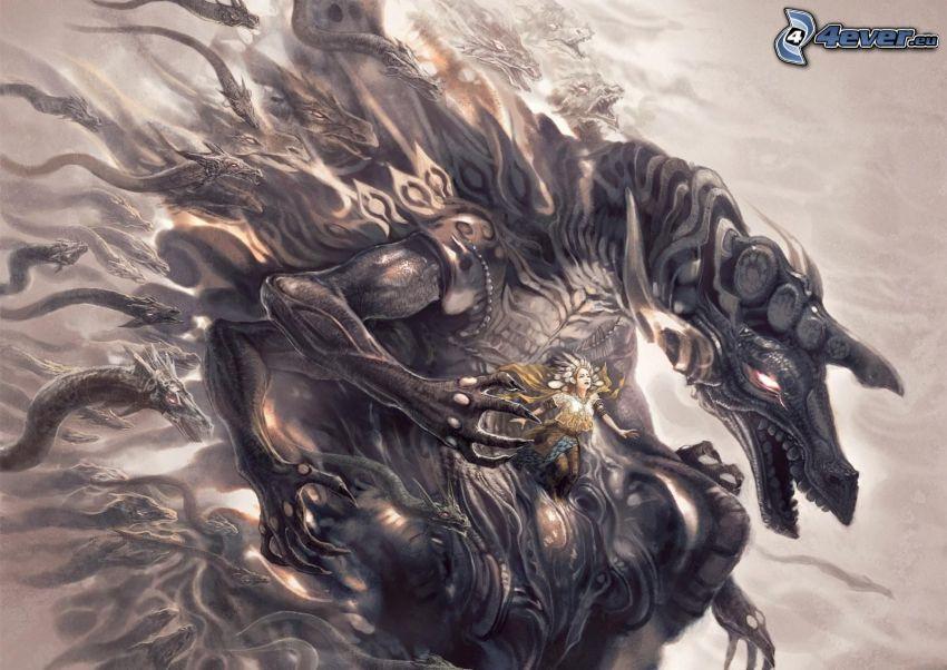 dragón de la historieta, caricatura de mujer