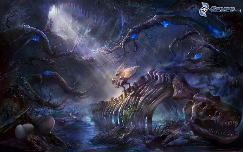 dragón de la historieta, esqueleto, huevos