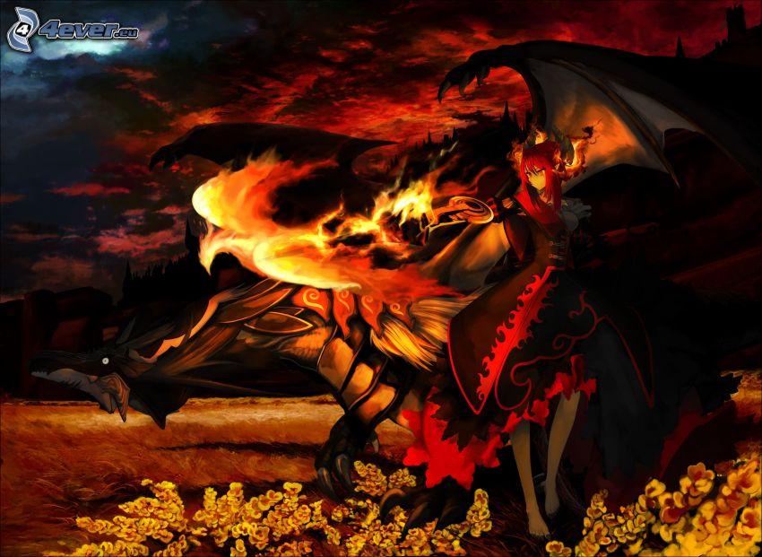 dragón de la historieta, llama, dibujos animados de chica