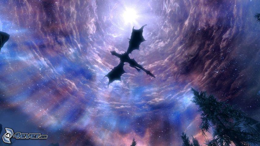 dragón volador, cielo de noche, estrella
