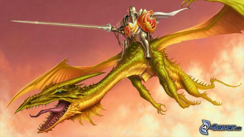 dragón volador, dragón de la historieta, caballero