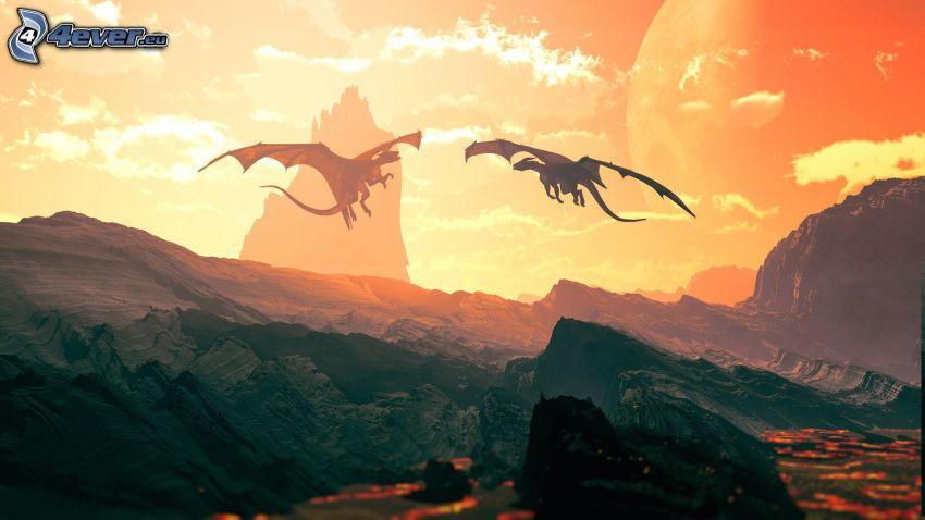 dragones, cielo anaranjado, montaña rocosa