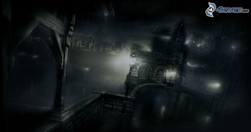 edificio, noche