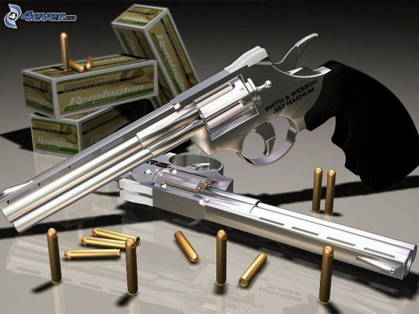 357 magnum, pistola, proyectil