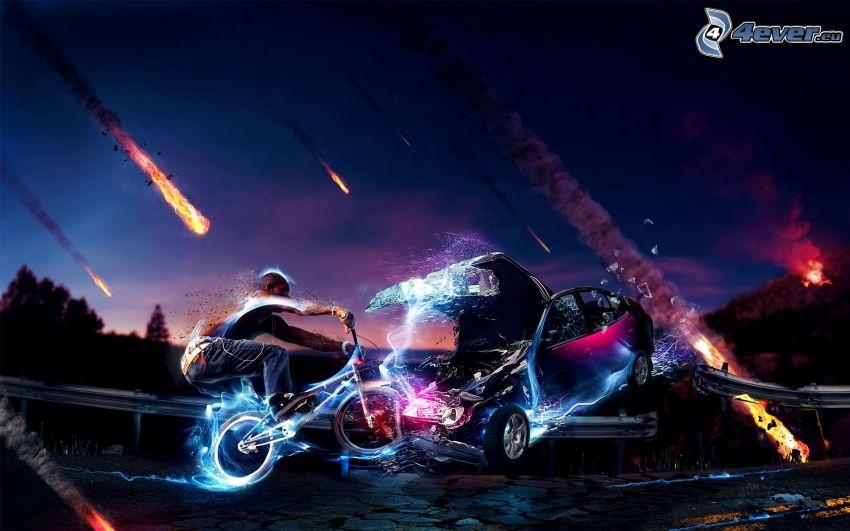 accidente, bicicleta, coche, meteoritos