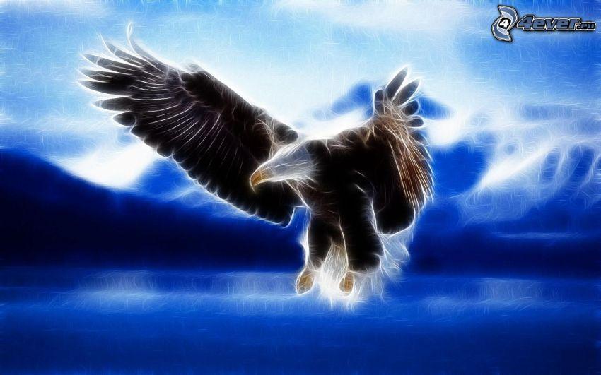 águila fractal, alas, vuelo