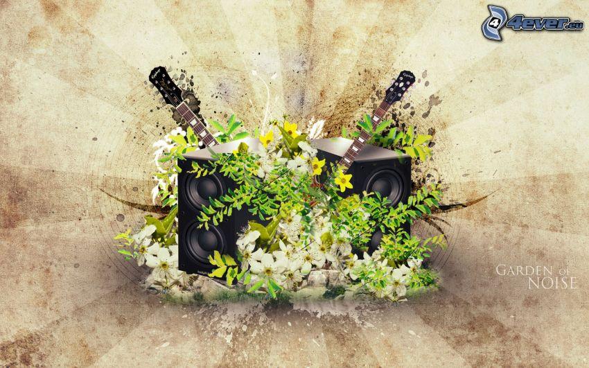altavoces, flores, guitarras