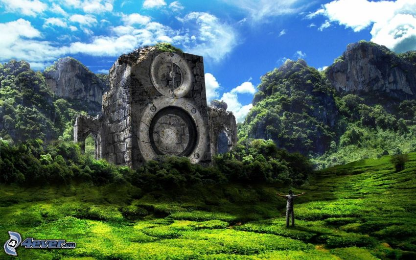 altavoz, roca, naturaleza, montañas, prado