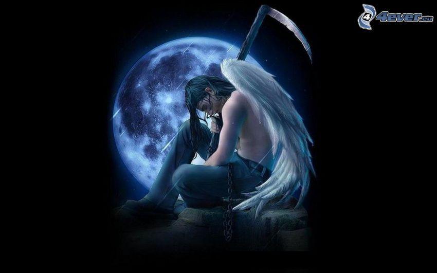 ángel de la historieta, chico cartoon, guadaña, alas, Luna llena, mes