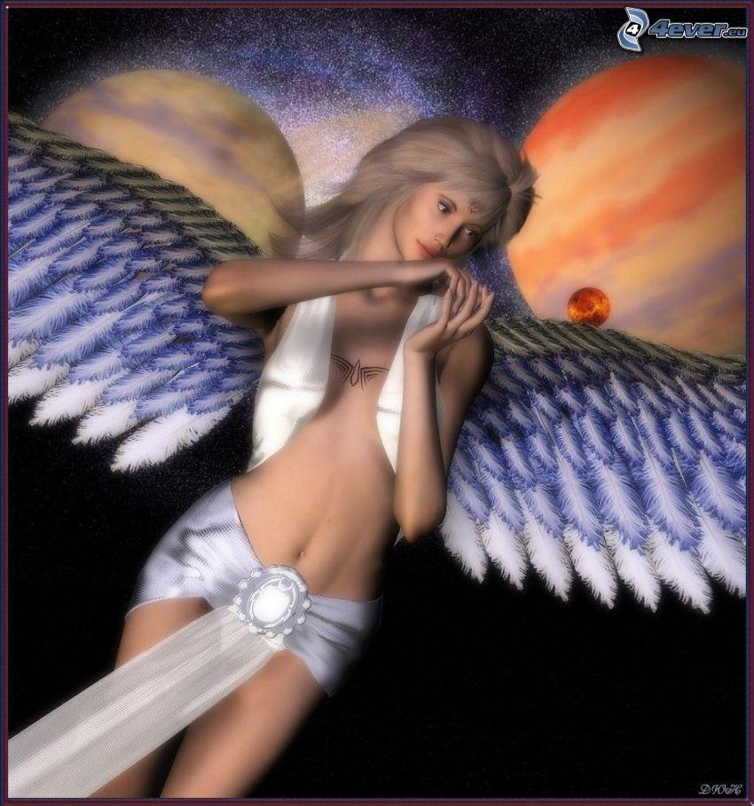 ángel sexy, mujer con alas, planetas