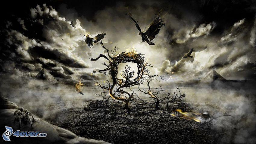 árbol, águila, nubes