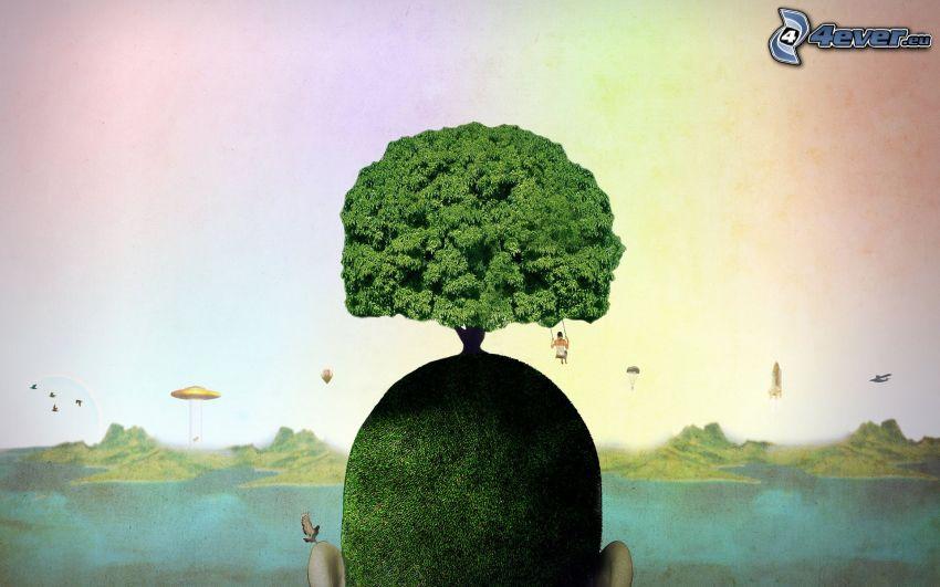 árbol, cabeza, columpio
