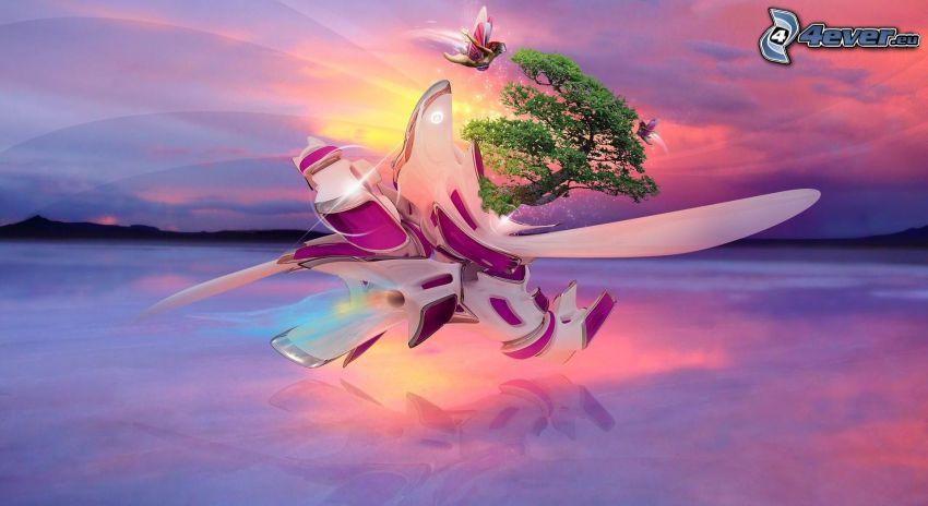 árbol pintado, arte digital