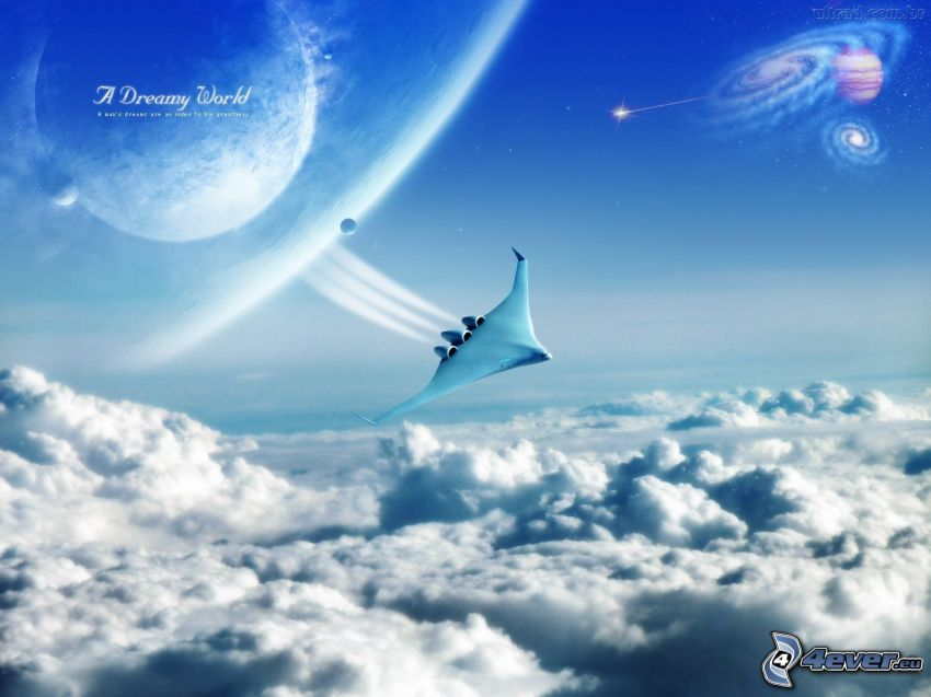 avión, encima de las nubes, planetas, ciencia ficción