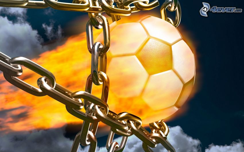 balón de fútbol en fuego, cadena