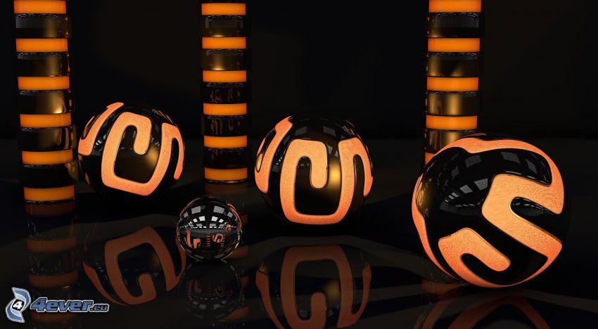 bolas abstractas, 3D