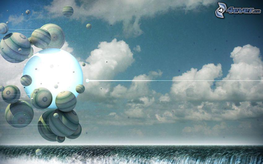 bolas abstractas, nubes, campo