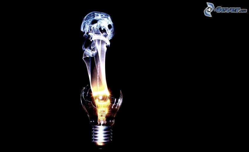 bombilla, cráneo, luz
