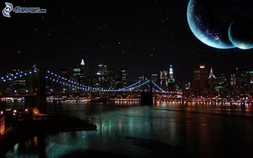 Brooklyn Bridge, puente, noche, planetas