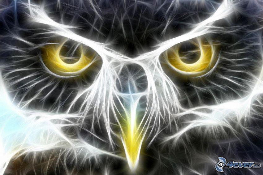 búho, pájaro fractal