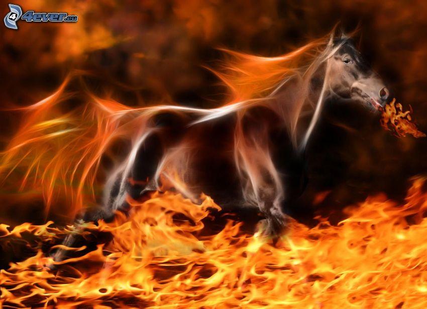caballo en fuego, animales de Fractal
