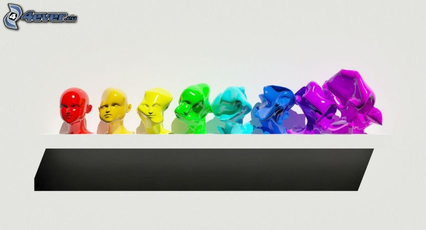 cabezas, colores