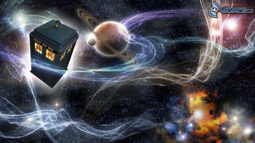 cabina telefónica, Doctor Who, universo, planetas