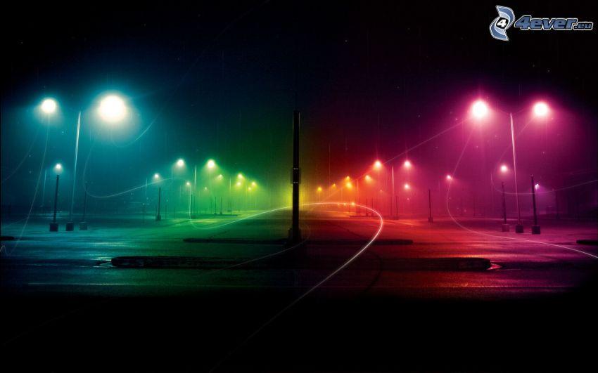 calle, noche, alumbrado público, colores