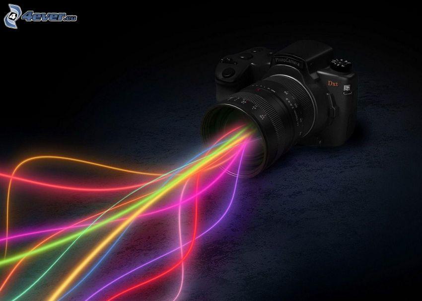 cámara, líneas de luz