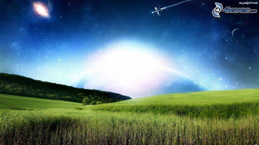 campo, planeta, avión, luz intensa, galaxia