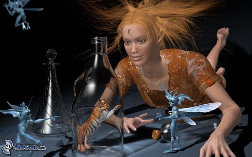 caricatura de mujer, extraterrestres, tigre, botella