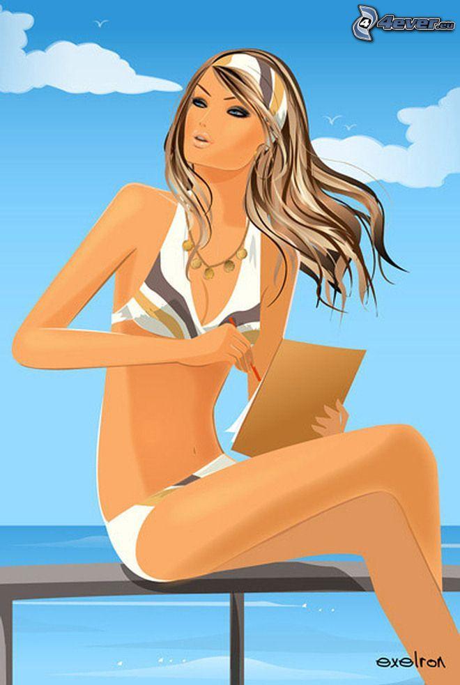 caricatura de mujer, mar, verano, traje de baño