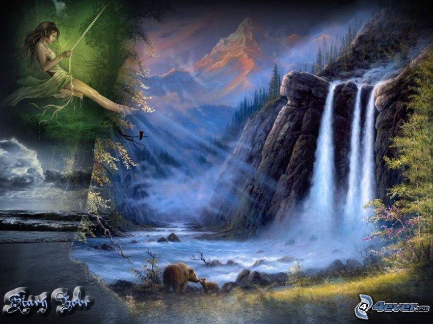cascada, naturaleza, montañas, osos, niña en un columpio