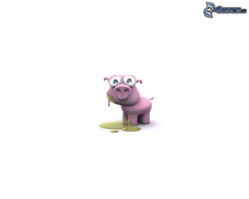 cerdo, animal, dibujos animados