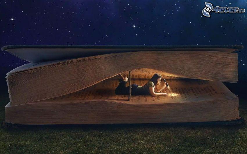 chica, batería, libro, cielo estrellado