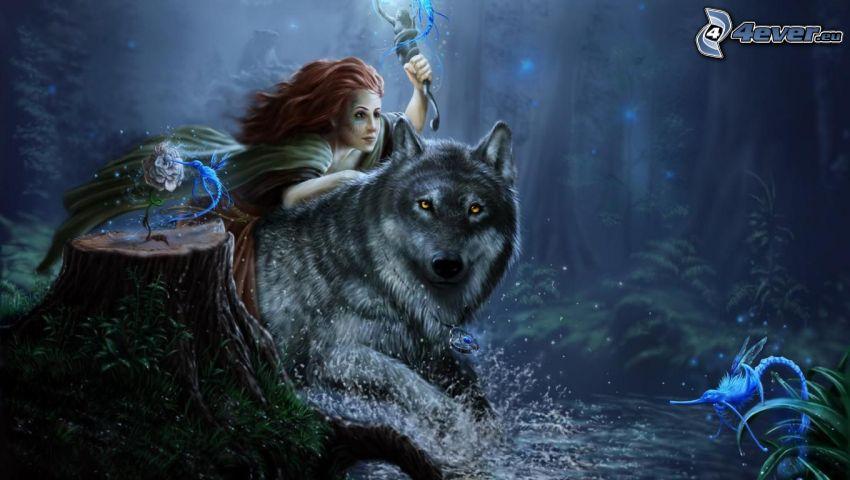 chica sobre un lobo, noche de hadas, hada en el bosque, fantasía