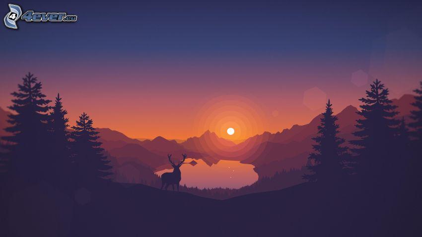 ciervo, puesta de sol sobre las montañas, lago de montaña, siluetas de los árboles