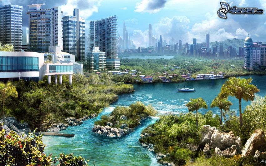 ciudad ciencia ficción, río, rascacielos