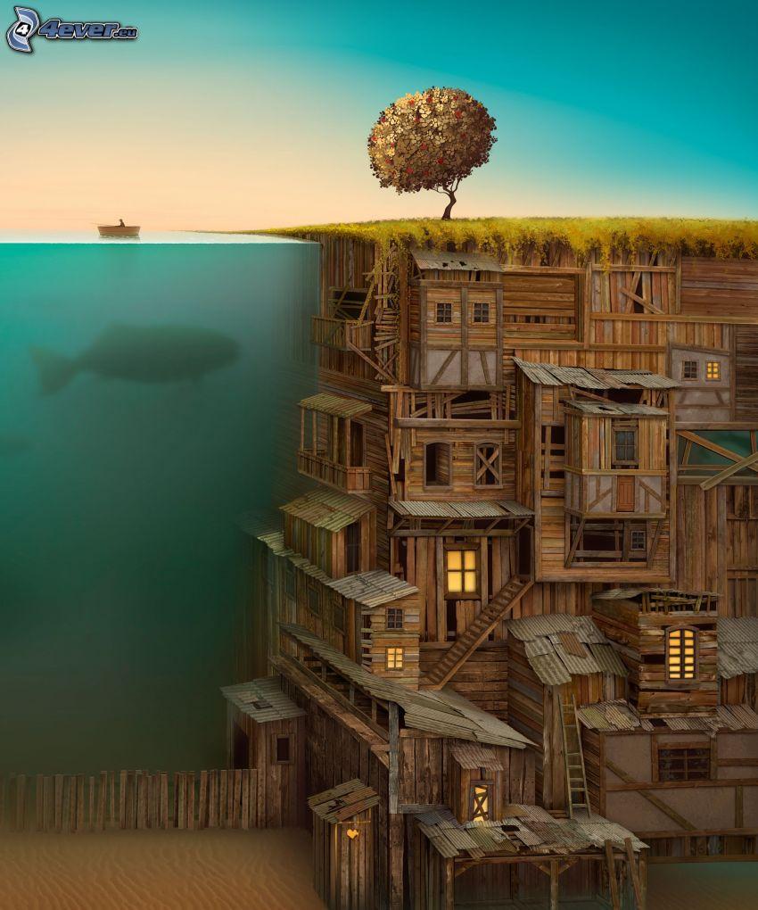 ciudad de madera, mar, pescador, árbol solitario