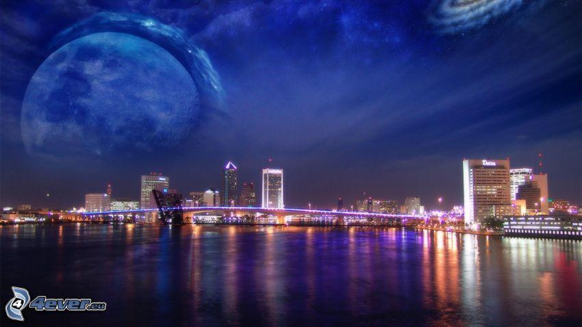 ciudad de noche, río, planeta, galaxia
