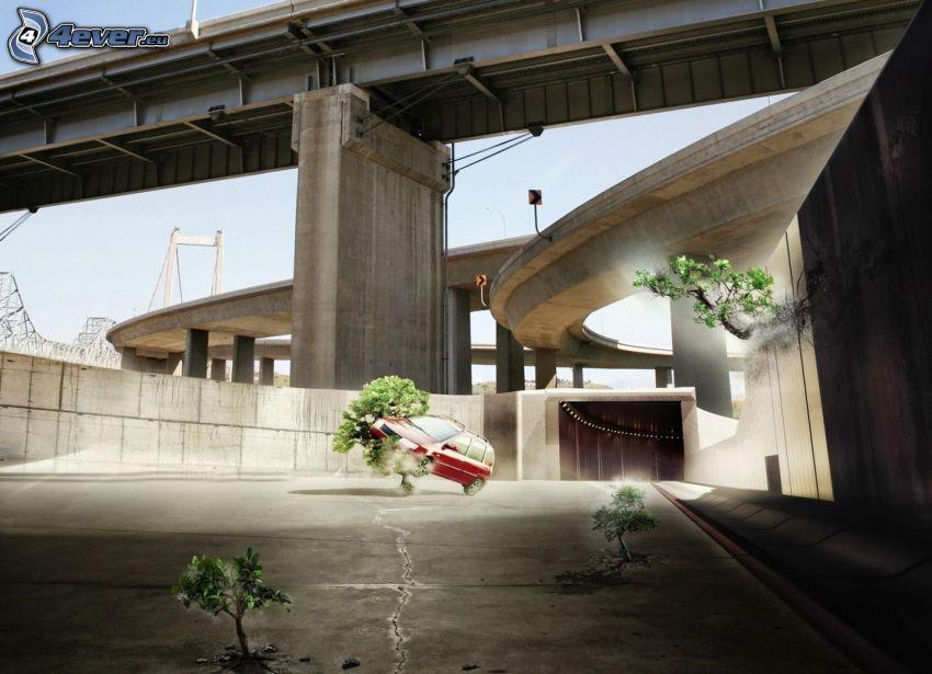 coche, árboles, bajo el puente
