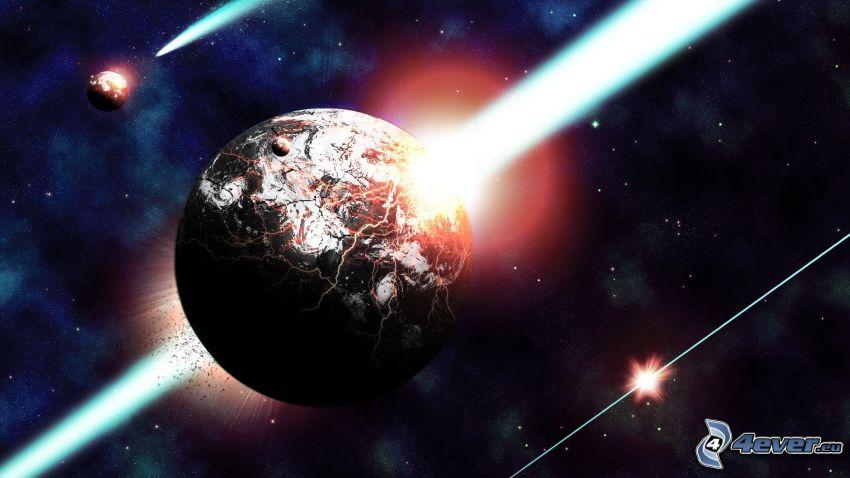 colisión espacial, planeta, luz intensa