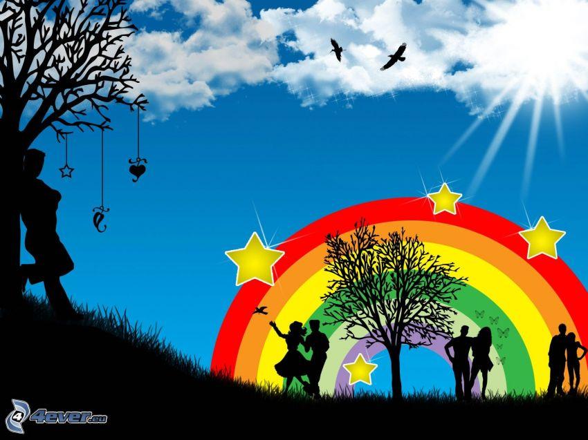 color de arco iris, personas, estrellas