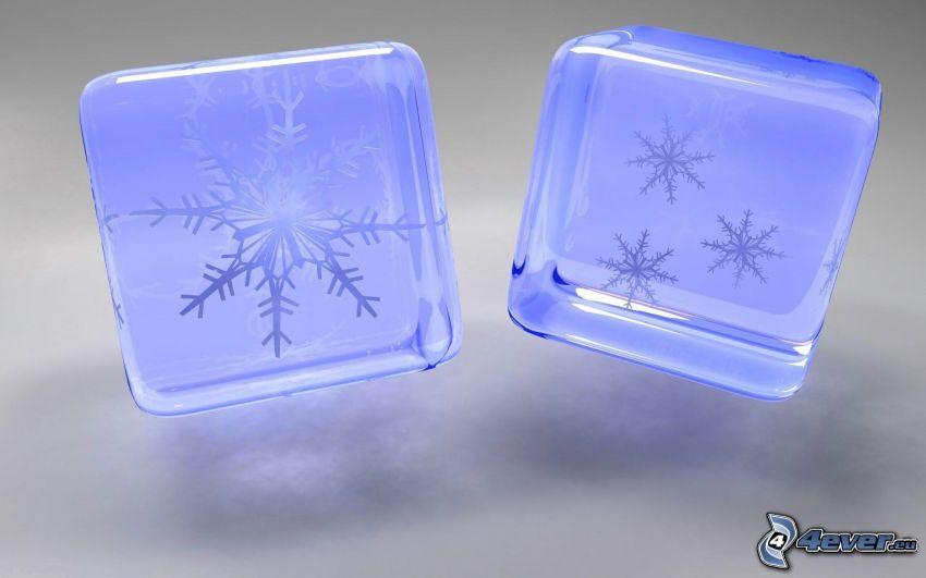 copos de nieve, cubos