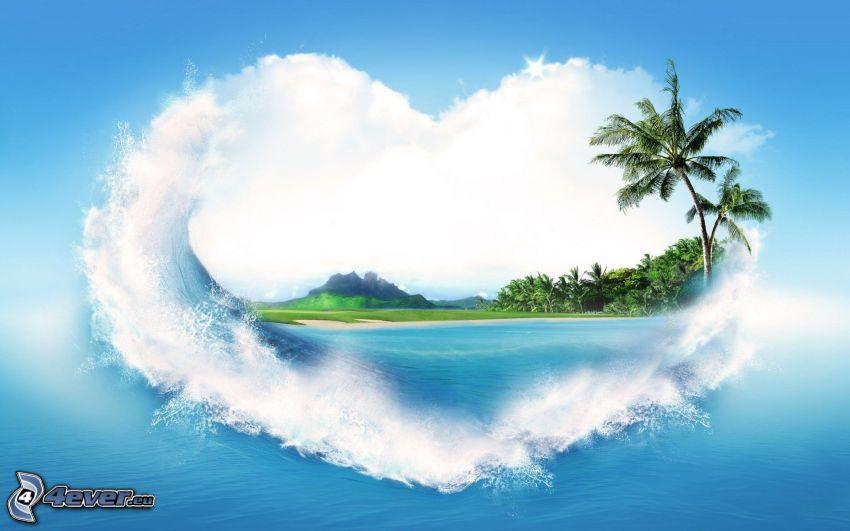 corazón, mar, palmera