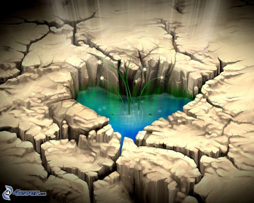corazón agrietado, tierra seca, agua