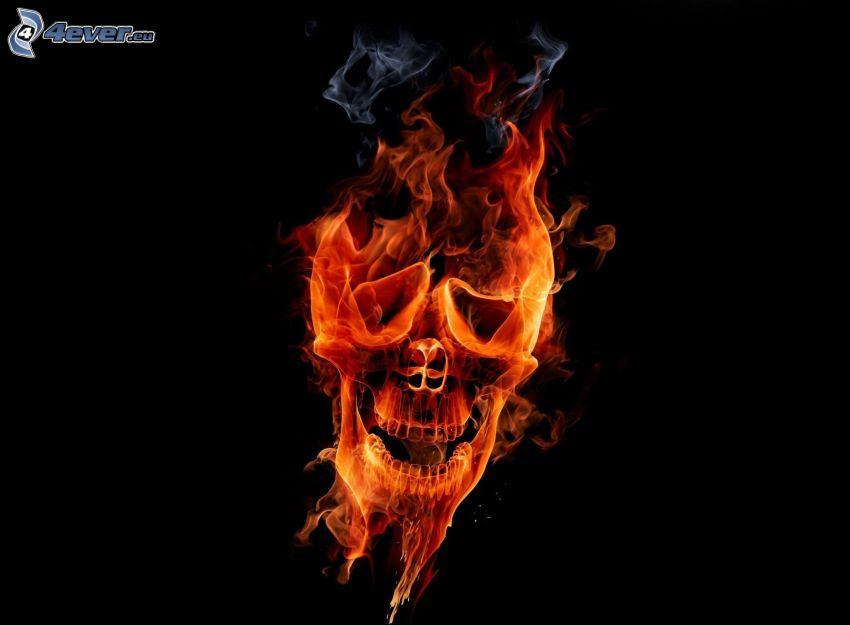 cráneo, fuego