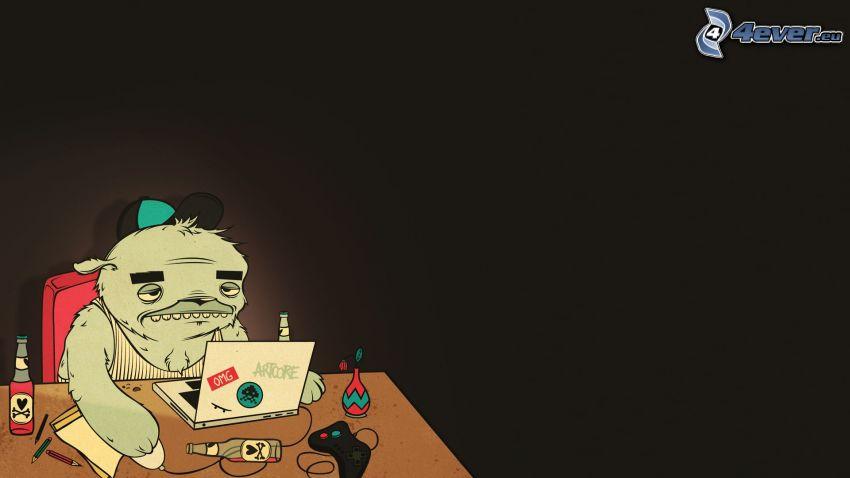 Criatura de una historieta, gorro, notebook, botellas, mesa